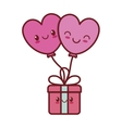 kawaii love heart balloon gift box valentine vector image