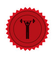 red circular seal with man weightlifting vector image