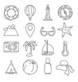 outline summer or vacation icon set isolate vector image