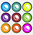 moon icon sign Nine multi-colored round buttons vector image