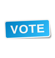 vote blue square sticker isolated on white vector image