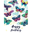Congratulation card Happy Birthday with flying vector image