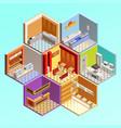 fastfood restaurant tesselar composition vector image