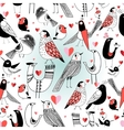 Graphic pattern in love birds vector image