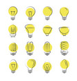 line light bulbs icons on white background vector image