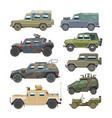 military vehicle army car and armored truck vector image