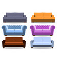 sofa and couches colorful realistic set vector image