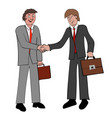 two businessmen with briefcases shaking hands vector image