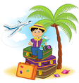 boy arrived on summer holiday on sea vector image