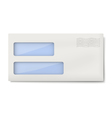 White blank DL envelope with two windows vector image
