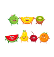 Funny fruits cartoon characters vector image vector image