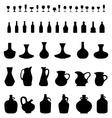 bowls bottles and glasses vector image