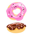 two sweet cartoon icons donut with sprinkles vector image