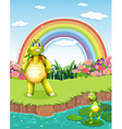 A turtle and a frog at the pond with a rainbow in vector image vector image