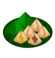 Stuffed Dough Pyramid Dessert vector image