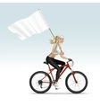 Blonde Woman Girl Riding a Bicycle with Flag vector image