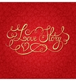 Love story hand lettering Valentines day card vector image