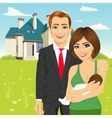 husband with his wife in front of classic cottage vector image