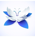 Blue paper cutout butterfly vector image