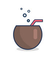 cocktail in half of coconut with straw and bubbles vector image