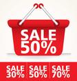 Sale Basket red set vector image
