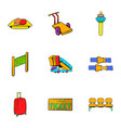 airplane flight icons set cartoon style vector image