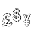 Dollar pound and yen currency signs vector image vector image