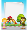 Paper design with kids in the park vector image vector image