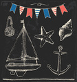 Rustic Sailboat and Anchor Sea Elements Chalk Set vector image