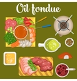 Oil fondue with meat and vegetables like carrot vector image