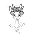 Abstract Beautiful geisha doodle Portrait vector image