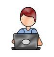 cartoon programmer laptop working writing code vector image