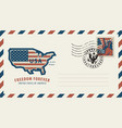 envelope with map of america in colors of flag vector image