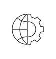 globe and gear outline icon vector image