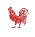 Red glitter rooster on white background vector image