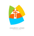 Church logo and cristian symbols vector image