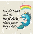 Amazing card with cute unicorn cartoon vector image