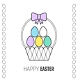 Easter basket with a ribbon and eggs flat icon vector image