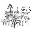 panorama of the giralda cathedral in seville spain vector image