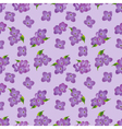 Seamless pattern of lilac flowers with leaves vector image