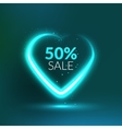 Valentine Sale background with glowing love heart vector image