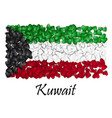 flag love kuwait flag heart glossy with love vector image