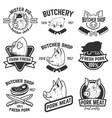 set of pork meat labels butcher shop pig heads vector image