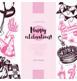 happy birthday - color drawn vintage banner vector image