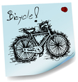 sketch drawing of bicycle on sticky paper vector image
