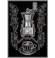 coffee grinder with ornament and inscription vector image vector image