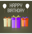 three colorful gifts with ribbons for happy vector image
