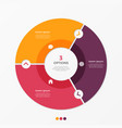 circle chart infographic template with 3 options vector image