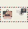 envelope with suitcase statue of liberty and flag vector image