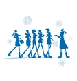 Girls in winter coats for your design vector image